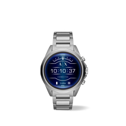 Armani Exchange Connected silver-toned stainless steel touchscreen smartwatch.