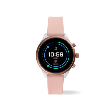 Fossil Sport ultra-lightweight 41mm Sport smartwatch in blush silicone.