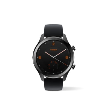 TicWatch C2 smartwatch features stainless steel case paired with leather straps.