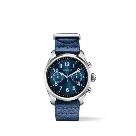 Montblanc Summit 2 smartwatch in stainless steel and nylon strap.