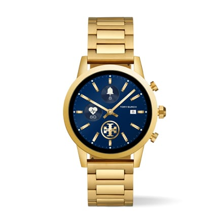 Tory Burch ToryTrack Gigi touchscreen smartwatch with gold-tone stainless steel.